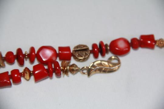 Unbranded Rare Unique Vintage Deep Red Coral Sterling Silver and Gold Necklace Image 3