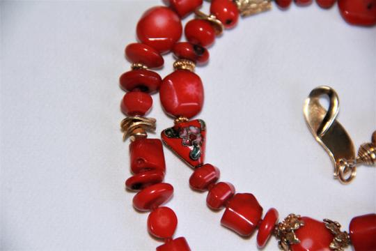 Unbranded Rare Unique Vintage Deep Red Coral Sterling Silver and Gold Necklace Image 6