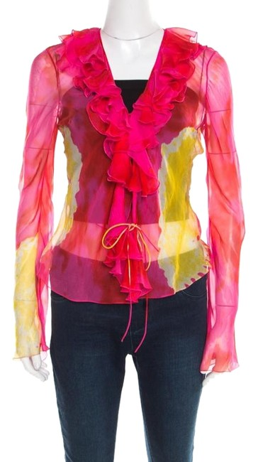 Preload https://img-static.tradesy.com/item/26283620/dior-multicolor-christian-pink-and-yellow-printed-sheer-silk-wrap-m-blouse-size-10-m-0-1-650-650.jpg