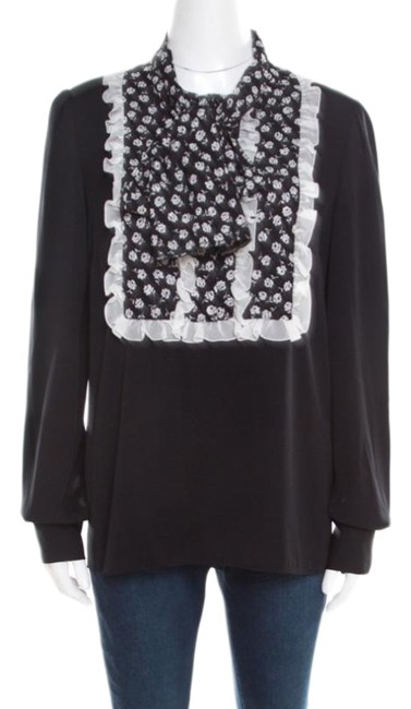 Preload https://img-static.tradesy.com/item/26283627/dolce-and-gabbana-black-dolce-and-gabbana-monochrome-small-flower-print-ruffled-m-blouse-size-10-m-0-1-650-650.jpg