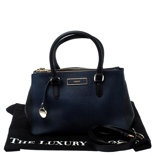 DKNY Leather Fabric Tote in Blue Image 10
