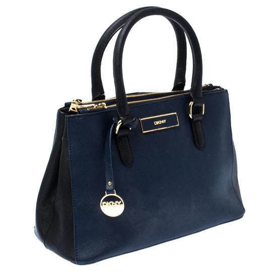 DKNY Leather Fabric Tote in Blue Image 4