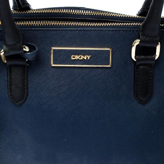 DKNY Leather Fabric Tote in Blue Image 9