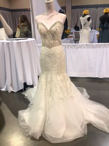 Allure Bridals Ivory Lace/Beading - Fit & Flare Formal Wedding Dress Size 4 (S)