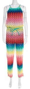 M Missoni Missoni Mare Rainbow Perforated Knit Beach Cover Up Jumpsuit S