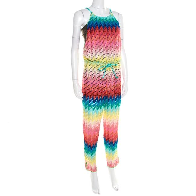 M Missoni Missoni Mare Rainbow Perforated Knit Beach Cover Up Jumpsuit S Image 2