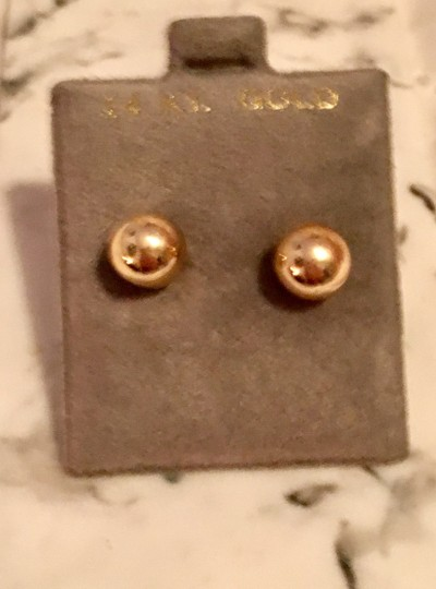 Boutique 14k Gold Solid Ball Stud Earrings Image 2