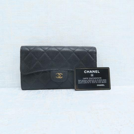 Chanel Chanel Black Caviar Quilted Trifold Wallet Image 1