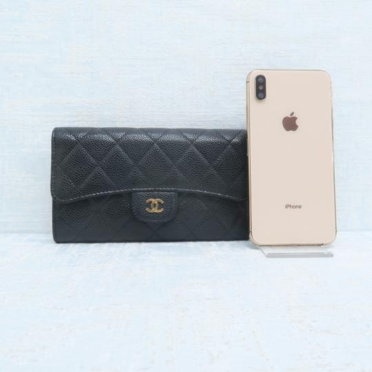 Chanel Chanel Black Caviar Quilted Trifold Wallet Image 2