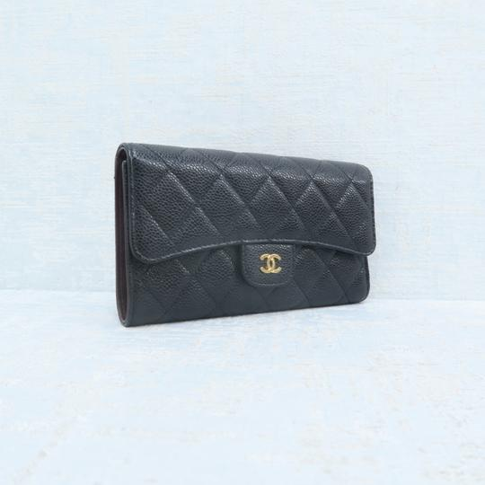 Chanel Chanel Black Caviar Quilted Trifold Wallet Image 4