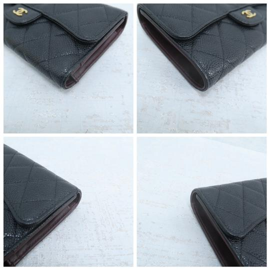 Chanel Chanel Black Caviar Quilted Trifold Wallet Image 6