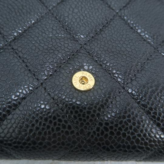 Chanel Chanel Black Caviar Quilted Trifold Wallet Image 8