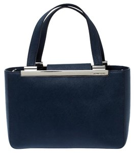MICHAEL Michael Kors Leather Fabric Tote in Navy Blue