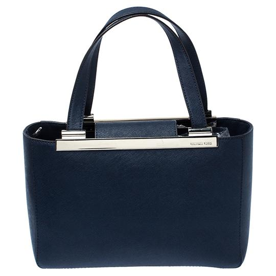 MICHAEL Michael Kors Leather Fabric Tote in Navy Blue Image 1