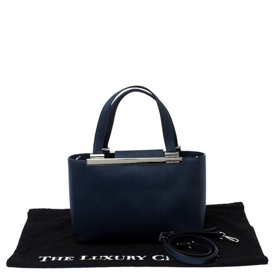MICHAEL Michael Kors Leather Fabric Tote in Navy Blue Image 11