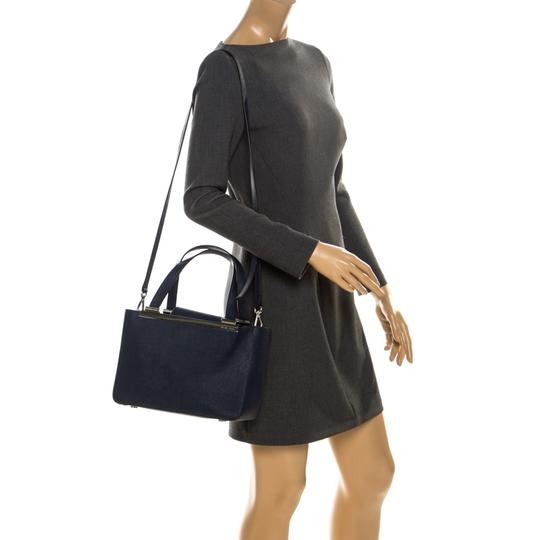 MICHAEL Michael Kors Leather Fabric Tote in Navy Blue Image 2