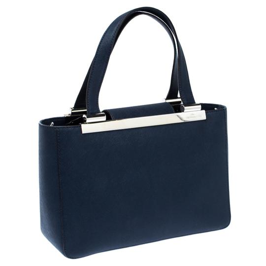 MICHAEL Michael Kors Leather Fabric Tote in Navy Blue Image 4