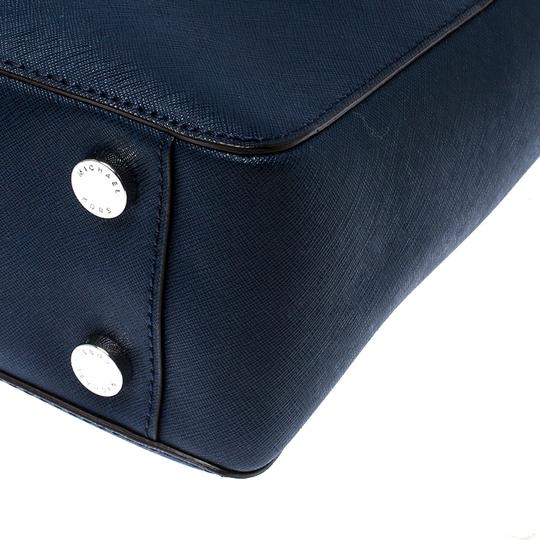 MICHAEL Michael Kors Leather Fabric Tote in Navy Blue Image 6
