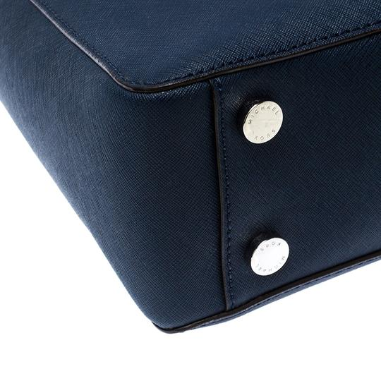 MICHAEL Michael Kors Leather Fabric Tote in Navy Blue Image 7