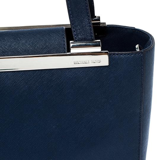 MICHAEL Michael Kors Leather Fabric Tote in Navy Blue Image 8