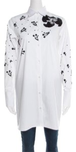Valentino Embellished Cotton Longsleeve Top White