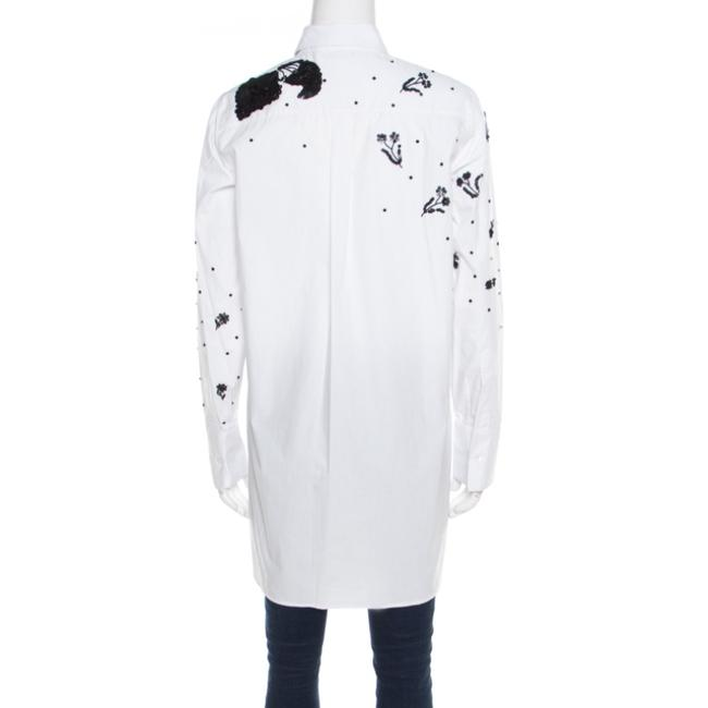 Valentino Embellished Cotton Longsleeve Top White Image 1