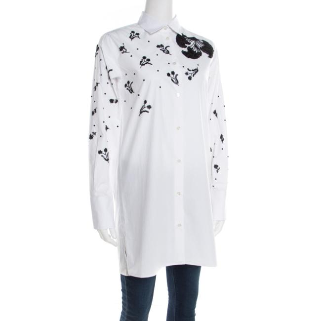 Valentino Embellished Cotton Longsleeve Top White Image 2