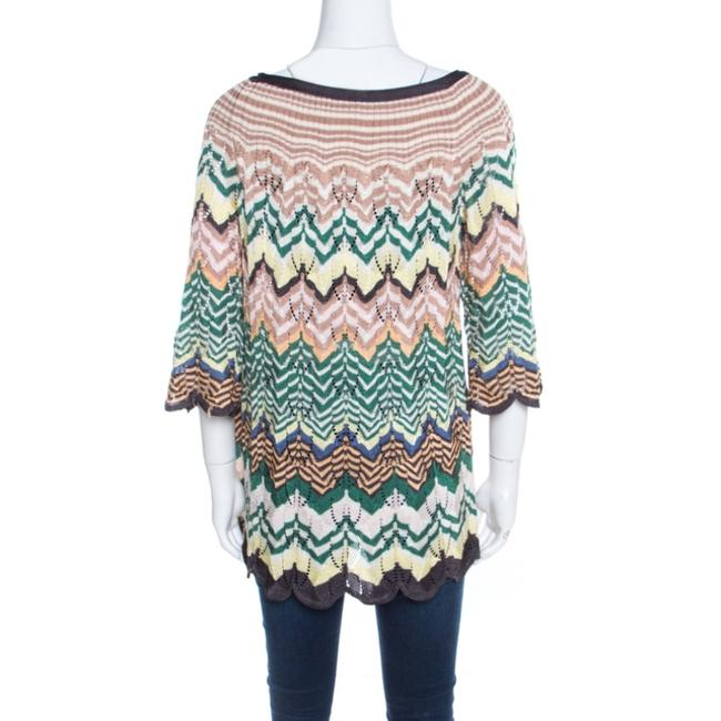 Missoni Perforated Knit Scalloped Top Multicolor Image 1