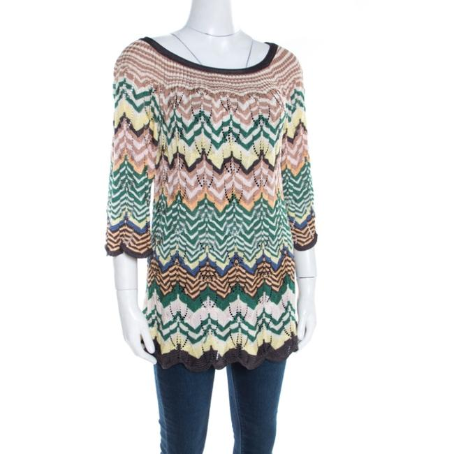 Missoni Perforated Knit Scalloped Top Multicolor Image 2