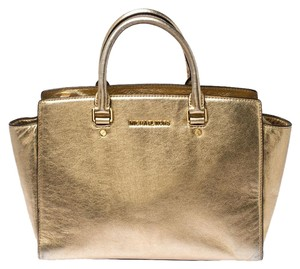 Michael Kors Leather Fabric Tote in Gold