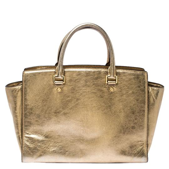 Michael Kors Leather Fabric Tote in Gold Image 1