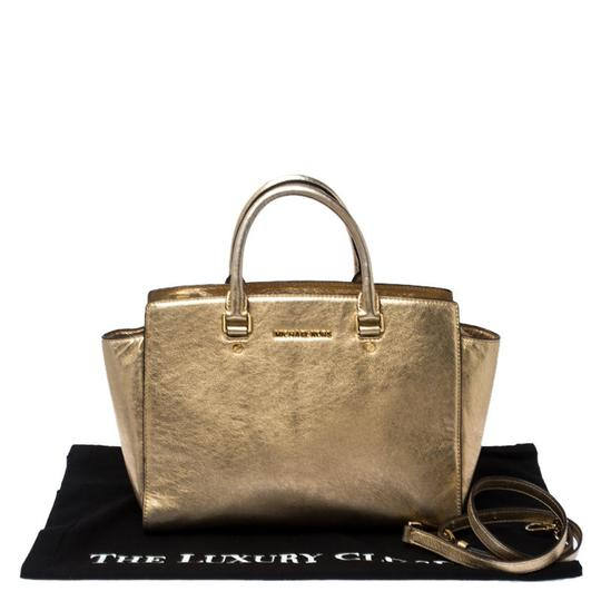 Michael Kors Leather Fabric Tote in Gold Image 10