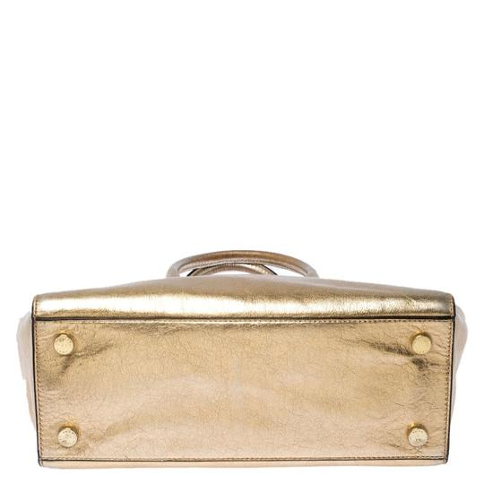 Michael Kors Leather Fabric Tote in Gold Image 3