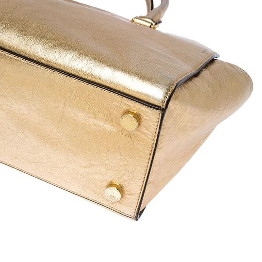 Michael Kors Leather Fabric Tote in Gold Image 4