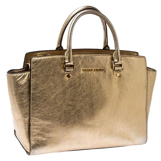 Michael Kors Leather Fabric Tote in Gold Image 5