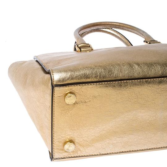 Michael Kors Leather Fabric Tote in Gold Image 6