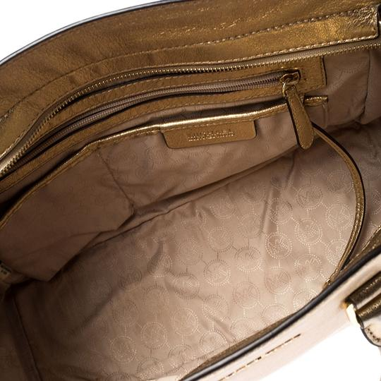 Michael Kors Leather Fabric Tote in Gold Image 7