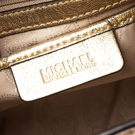 Michael Kors Leather Fabric Tote in Gold Image 8