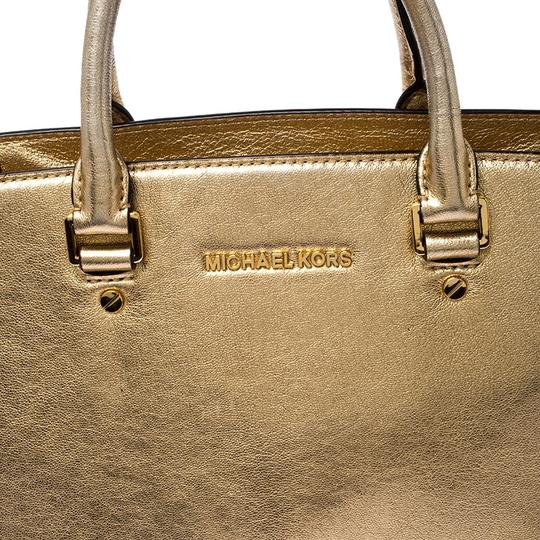 Michael Kors Leather Fabric Tote in Gold Image 9