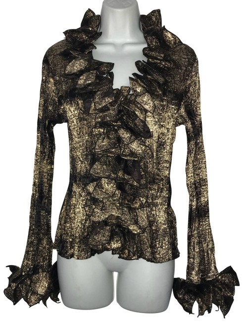 Preload https://img-static.tradesy.com/item/26283764/lindi-black-gold-zip-front-long-sleeve-crinkle-blouse-size-8-m-0-1-650-650.jpg