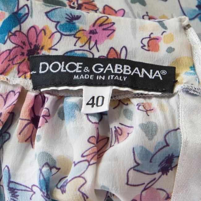 Dolce&Gabbana Floral Sleeve Silk Top White Image 3