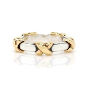Tiffany Sterling Sterling 18k Yellow Gold X Band Ring