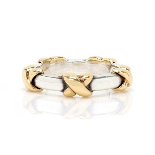 Preload https://img-static.tradesy.com/item/26283785/tiffany-and-co-61401-sterling-sterling-18k-yellow-gold-x-band-ring-0-0-540-540.jpg