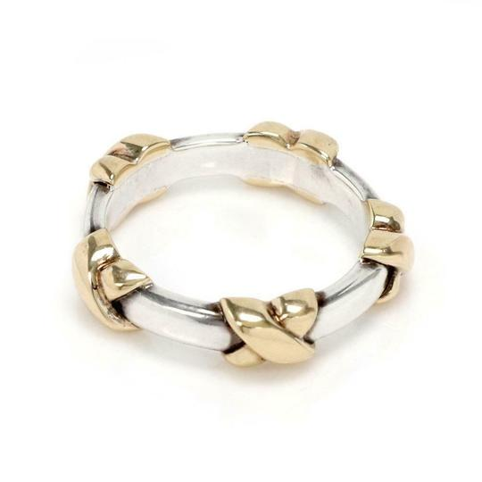 Tiffany Sterling Sterling 18k Yellow Gold X Band Ring Image 1