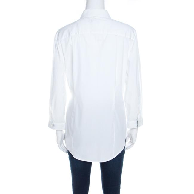 Burberry Cotton Longsleeve Button Top White Image 1