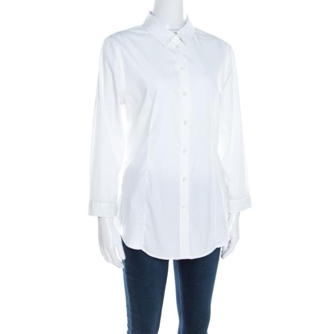 Burberry Cotton Longsleeve Button Top White Image 2