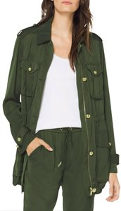 MICHAEL Michael Kors Rounded Collar Flap/Slant Button-down Closure Tab Cuffs Gold Hardware Military Jacket