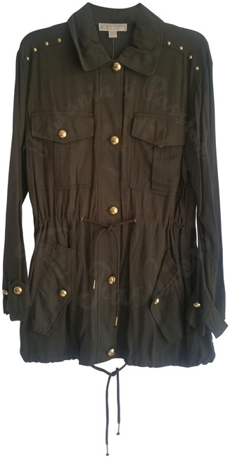 MICHAEL Michael Kors Rounded Collar Flap/Slant Button-down Closure Tab Cuffs Gold Hardware Military Jacket Image 1