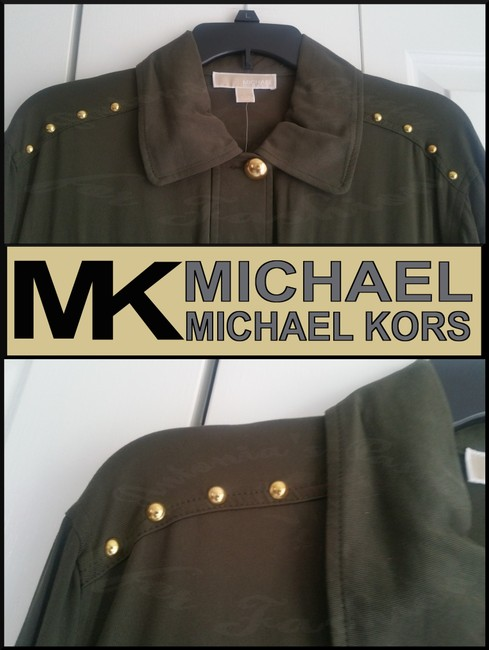 MICHAEL Michael Kors Rounded Collar Flap/Slant Button-down Closure Tab Cuffs Gold Hardware Military Jacket Image 10