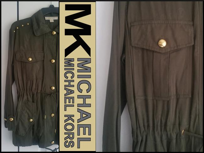 MICHAEL Michael Kors Rounded Collar Flap/Slant Button-down Closure Tab Cuffs Gold Hardware Military Jacket Image 11
